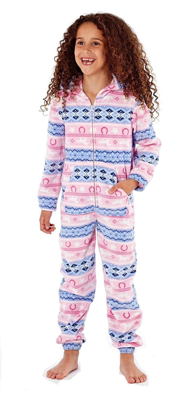 Platinum Girls Fairisle Design Hooded Fleece Onesie - Pink  Amazon.co.uk   Clothing 7b2f3b140