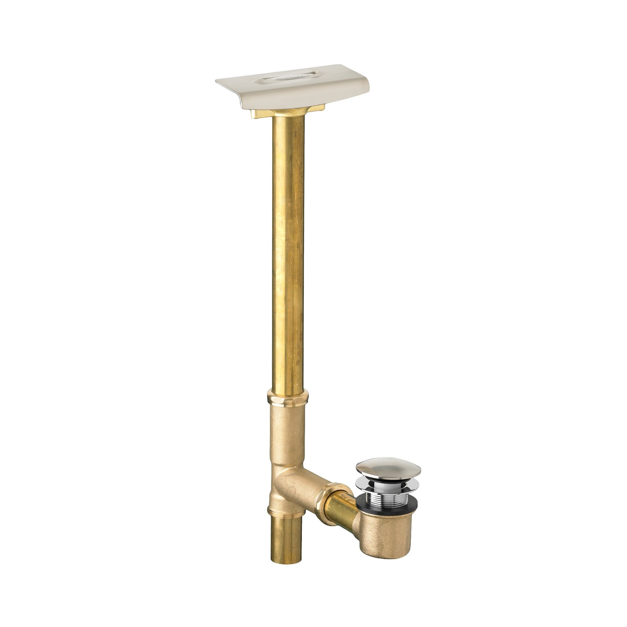 American Standard 1599.205.295 Deep Soak Max Drain with Unique Top-Mount Overflow, Allows 3-Inch Deeper Water Level, Satin Nickel