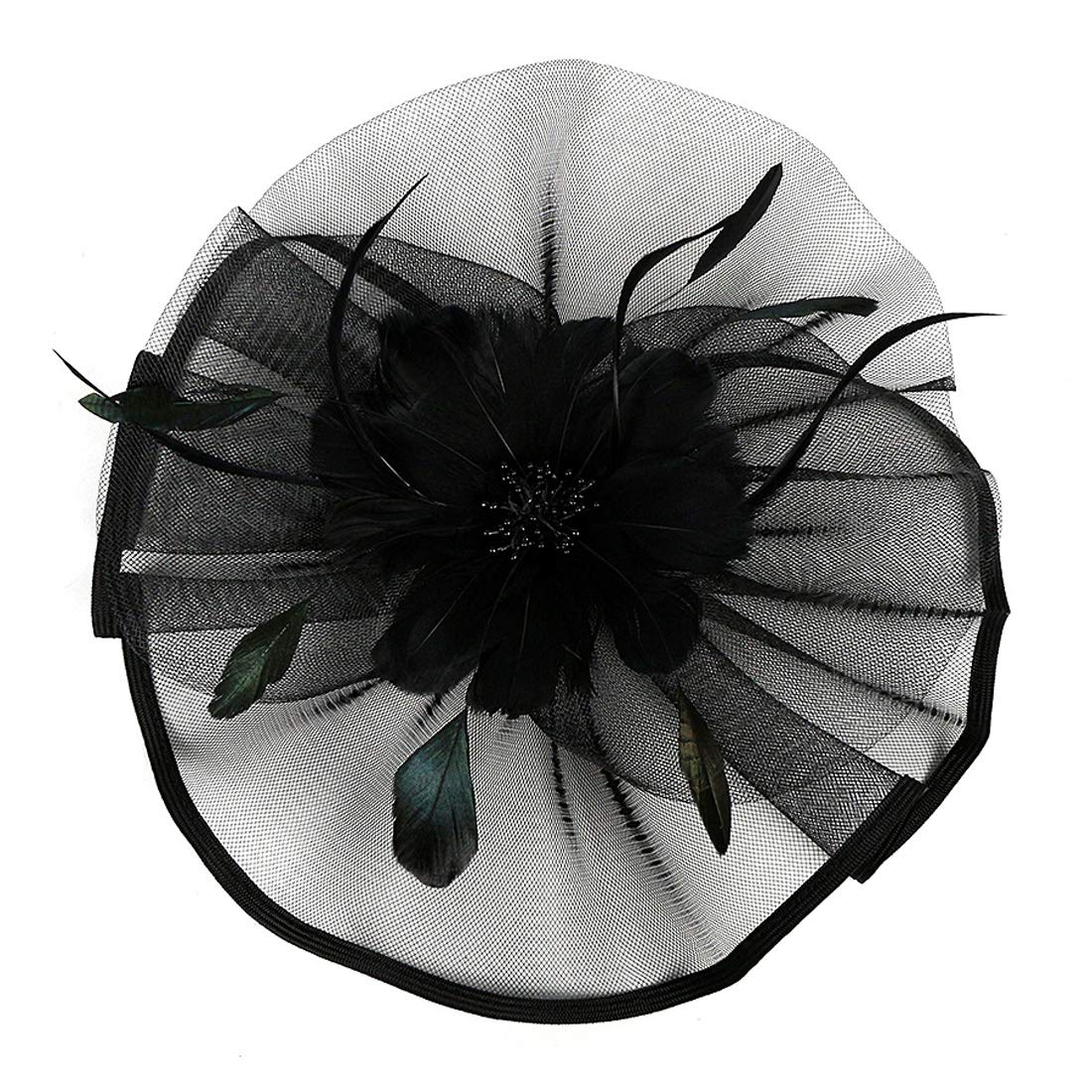 JaosWish Fascinator for Women Wedding Hat Feather Mesh Clip Fascinators Headband for Royal Ascot Cocktail
