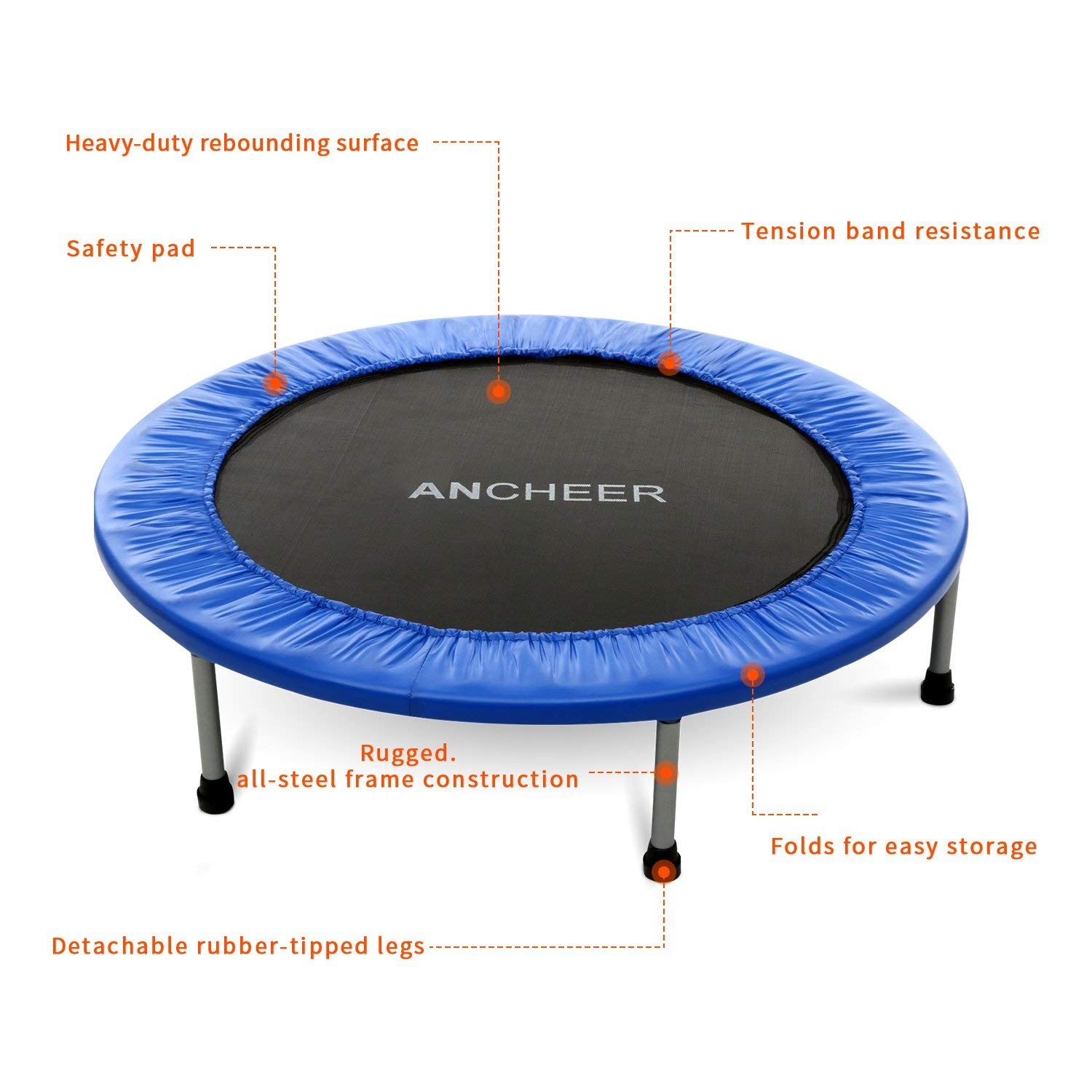 ANCHEER Max Load 220lbs Rebounder Trampoline with Safety Pad for Indoor Garden Workout Cardio Training (2 Sizes: 38 inch/40 inch, Two Modes: Folding/Not Folding) (Renewed) by ANCHEER (Image #5)