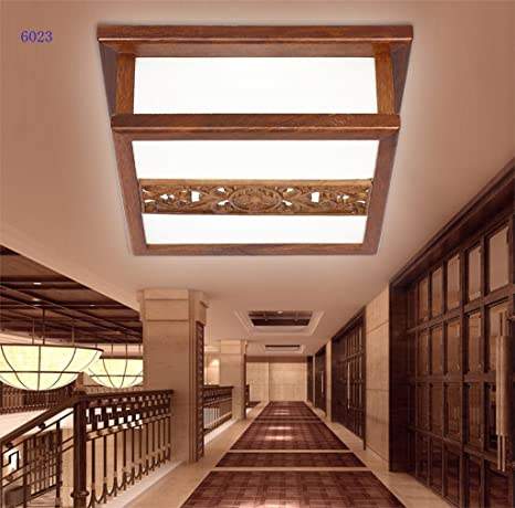 modernas luces de la sala rectangular chinos LED Sapele techo de madera del dormitorio
