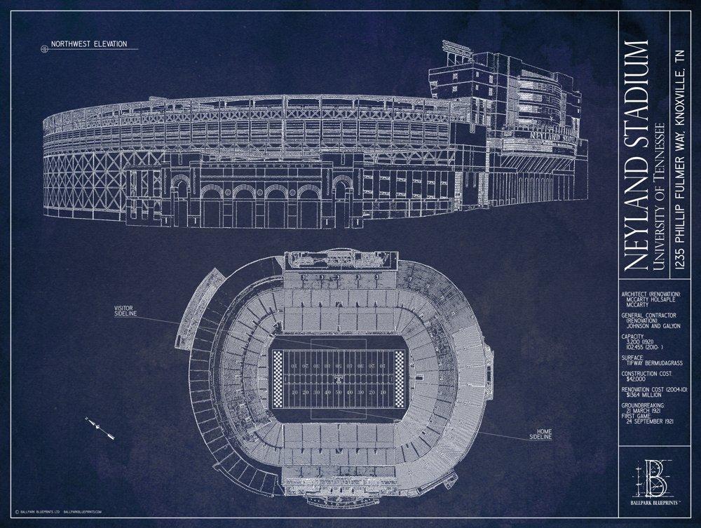 University of Tennessee Blueprint Style Print Neyland Stadium