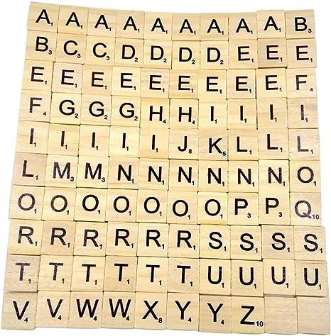 Transer® Juguetes para niños – 100 piezas de madera Scrabble azulejos letras negras números para manualidades alfabeto de madera – Baby Wise aprendizaje educación juguete regalo: Amazon.es: Bebé