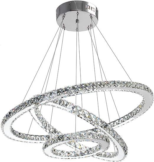 ANTILISHA Modern Crystal Chandelier Lighting Ceiling Dining Room Living  Room Chandeliers Contemporary Led Light Fixtures Hanging 3 Ring Foyer Girls  ...