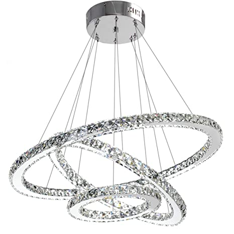 ANTILISHA Modern Crystal Chandelier Lighting Ceiling Dining Room Living  Room Chandeliers Contemporary Led Light Fixtures Hanging 3 Ring Foyer Girls  ...