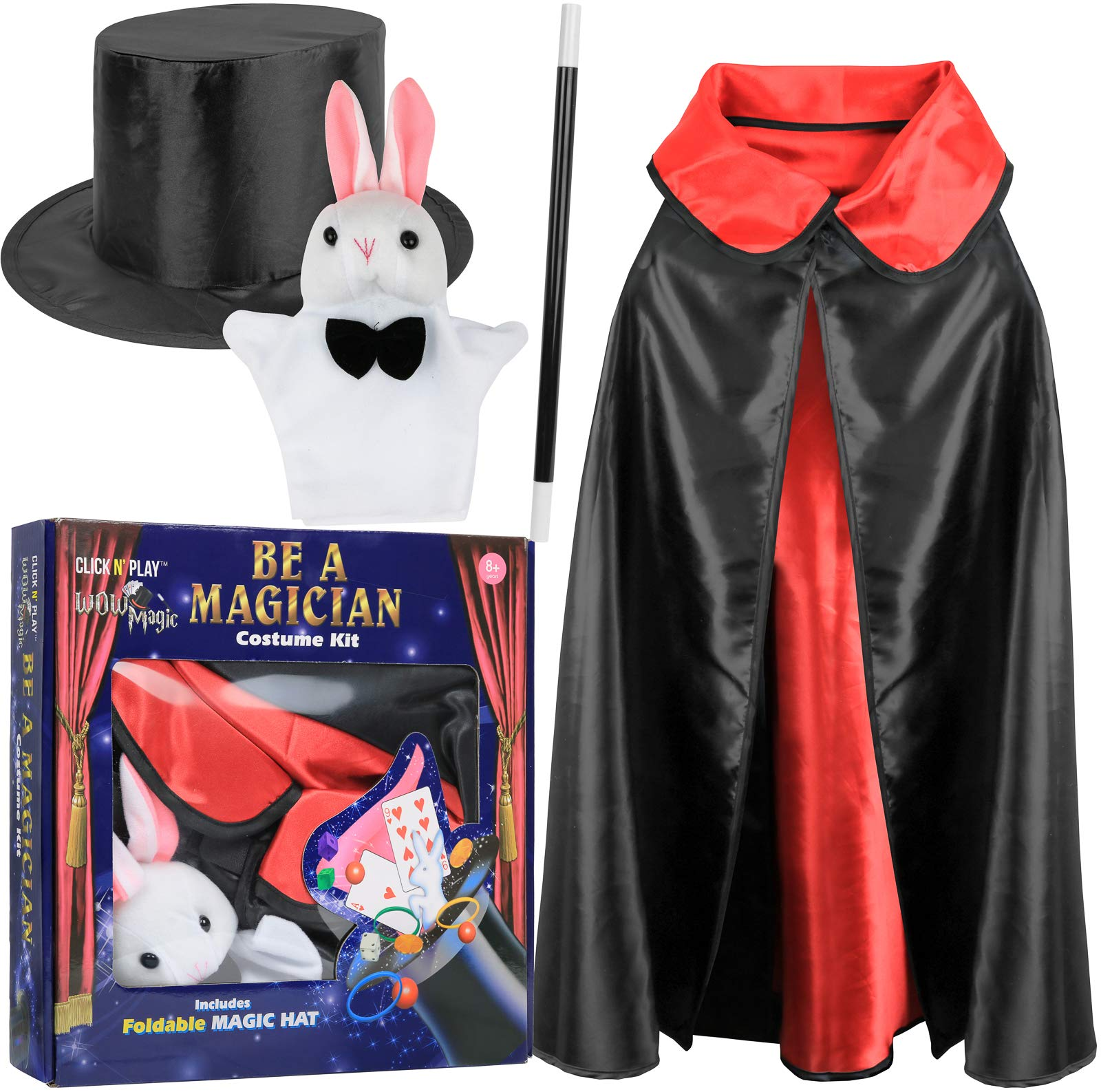 Click N' Play Magician Pretend Play Dress Up Set with Accessories, Hat & Rabbit Magic Tricks by Click N' Play