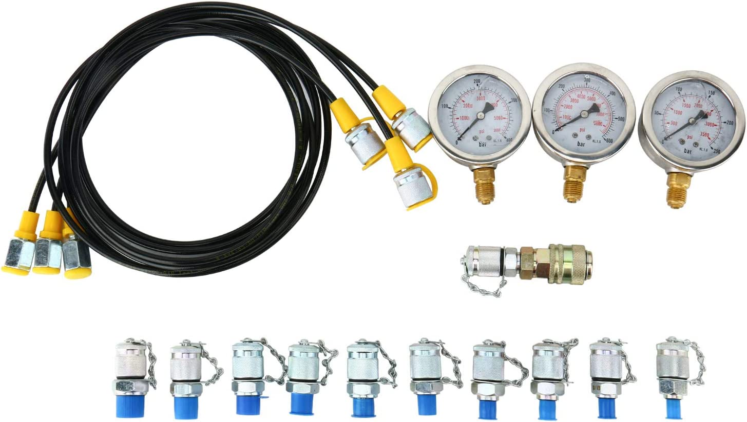 250//400//600Bar//11Couplings Homend Hydraulic Pressure Gauge Kit Excavator Parts Hydraulic Tester Coupling Hydraulic Pressure Test Kit for Excavator Construction Machinery