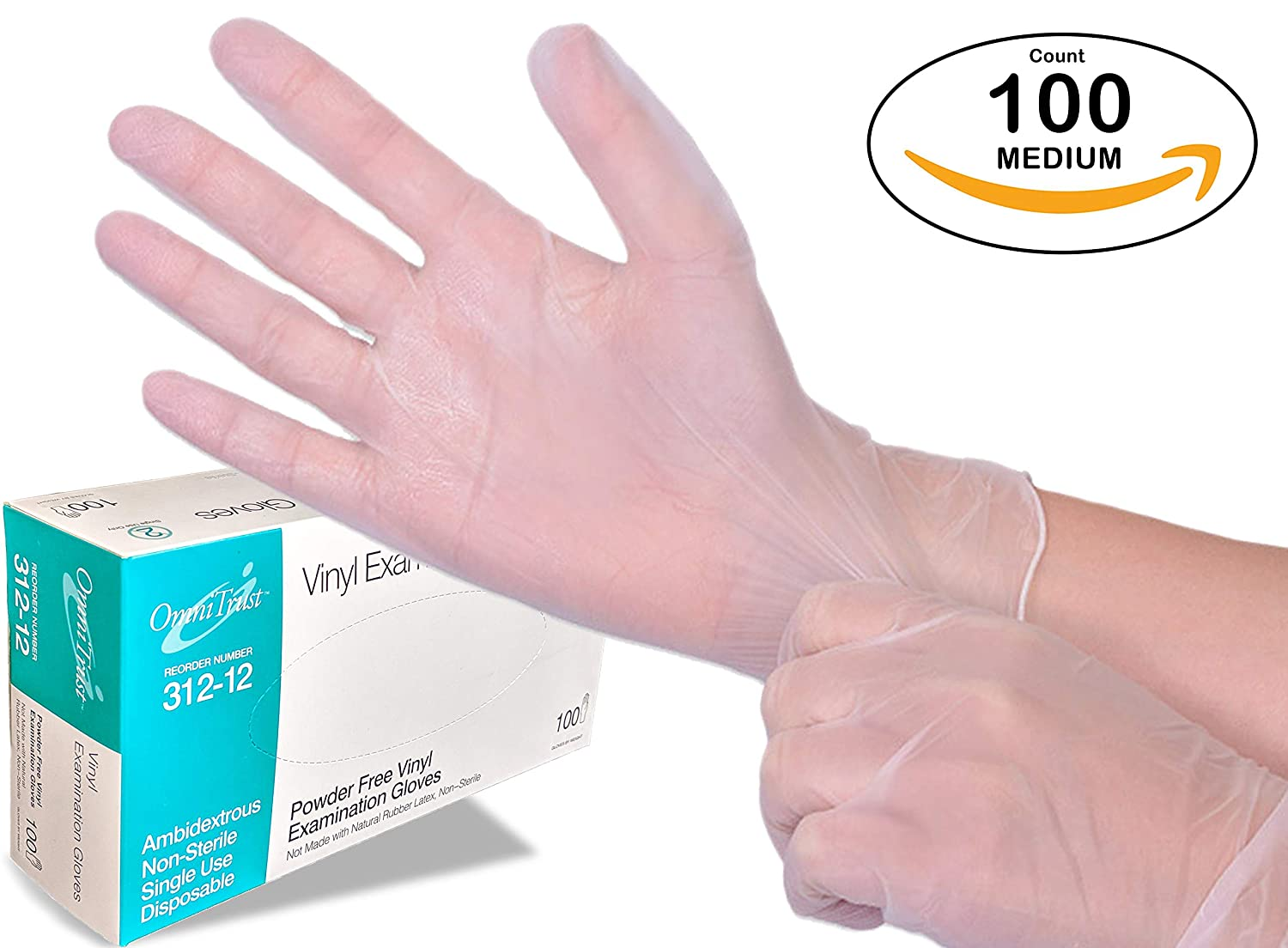 Medium Disposable Vinyl Gloves 100 Count (One Pack) - Powder Free, Clear, Latex Free and Allergy Free, Plastic, Medical, Food Service, Cleaning Service