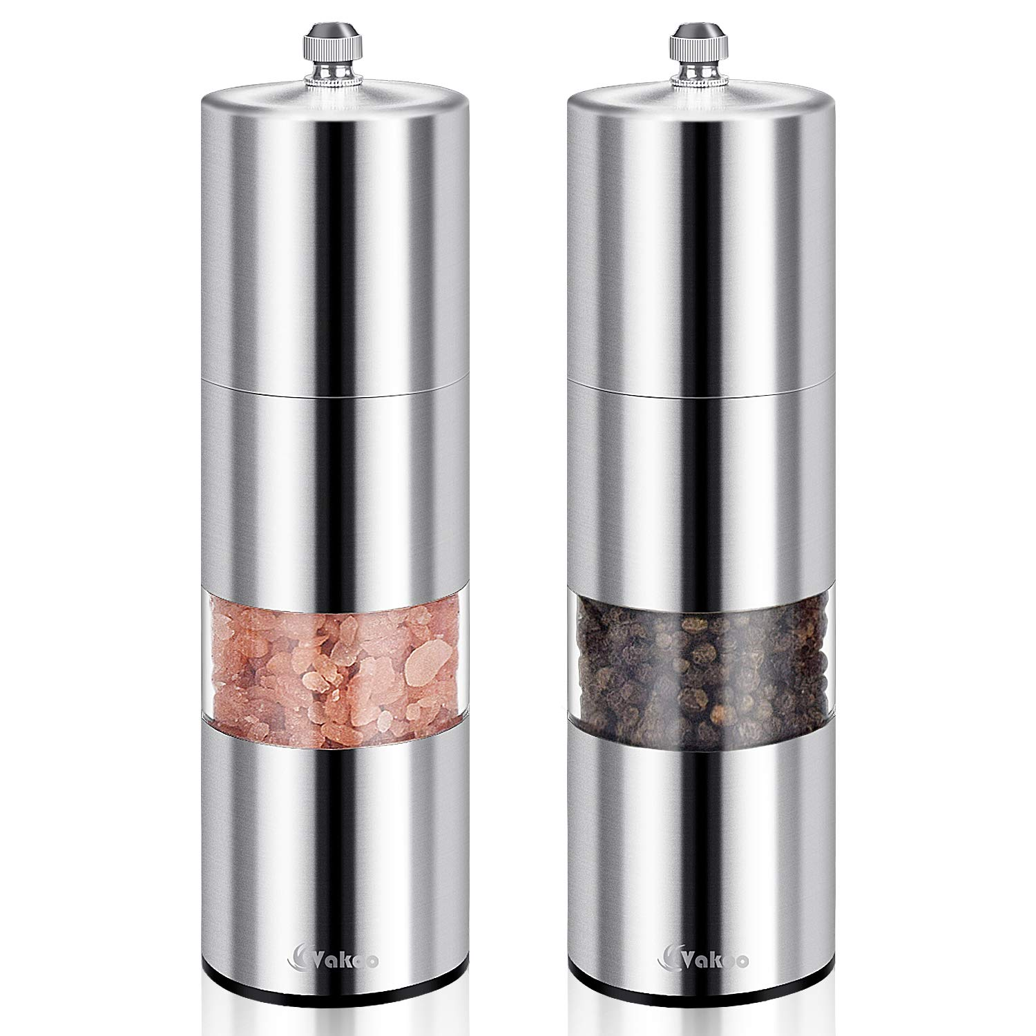 Salt and Pepper Grinders Set of 2, Vakoo Manual Stainless Steel Pepper Mill and Salt Shakers with Adjustable Ceramic Rotor and Visible Window