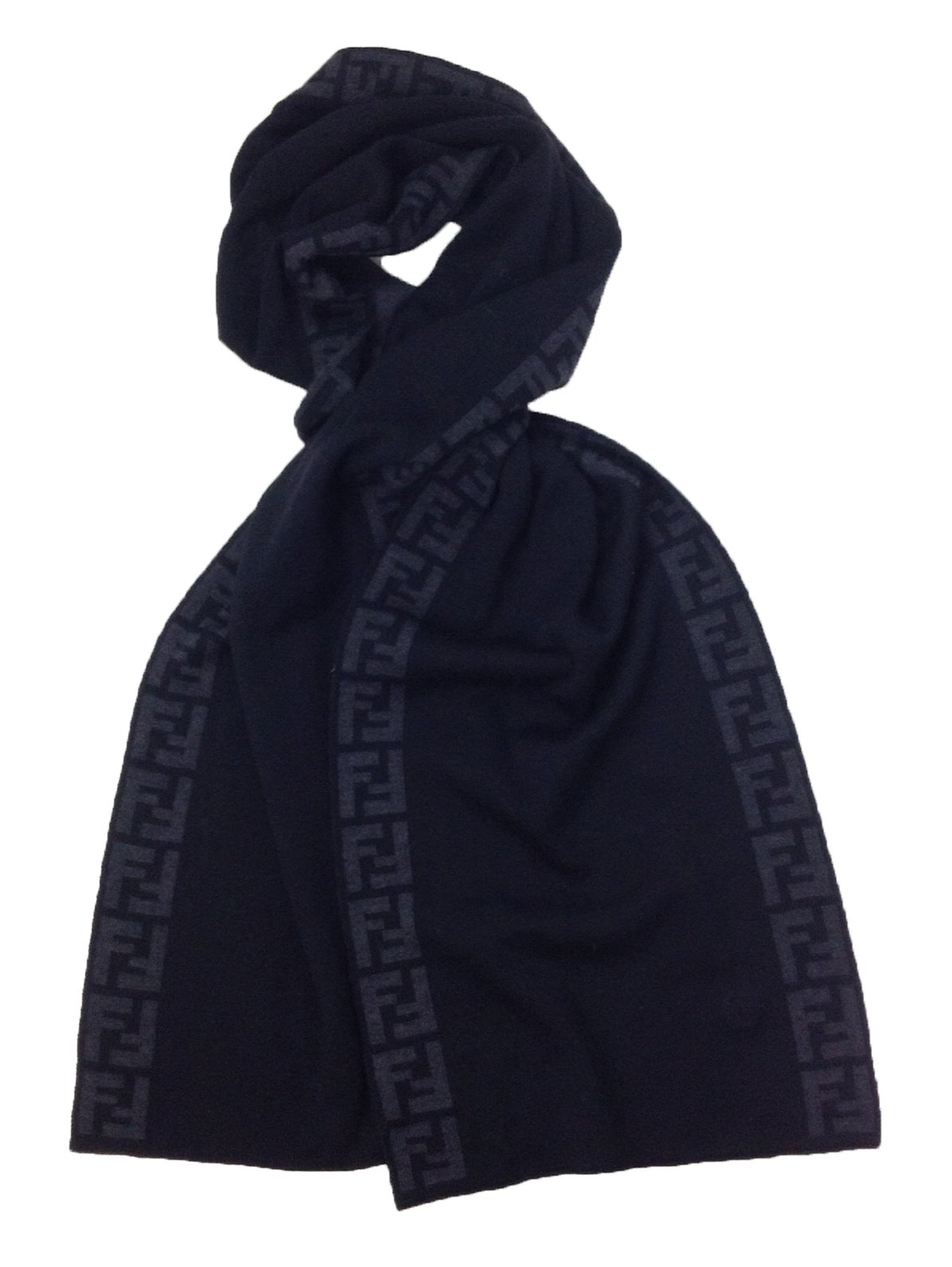 Fendi Knit Monogram Wool Scarf Zucca Stripe, Nero Black