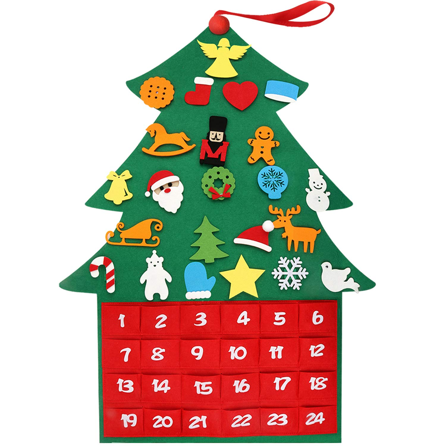 Henscoqi 2018 Newest Felt Christmas Tree Ornaments Advent Calendar Set, DIY Xmas Countdown Decorations Wall Door Hanging Gift for Kids