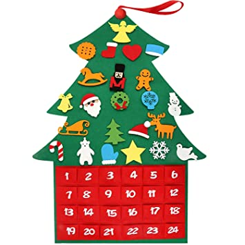 Christmas Tree Decorations 2019.Henscoqi 2019 Newest Felt Christmas Tree Ornaments Advent Calendar Set Diy Xmas Countdown Decorations Wall Door Hanging Gift For Kids