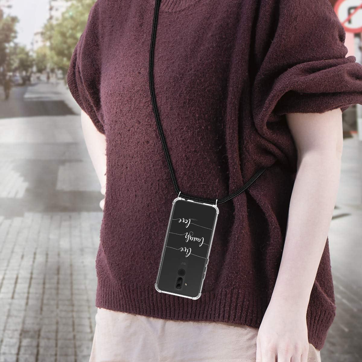 Laugh kwmobile Funda con Cuerda Compatible con Huawei Mate 20 Lite Love Blanco//Transparente Carcasa de TPU con Colgante Live