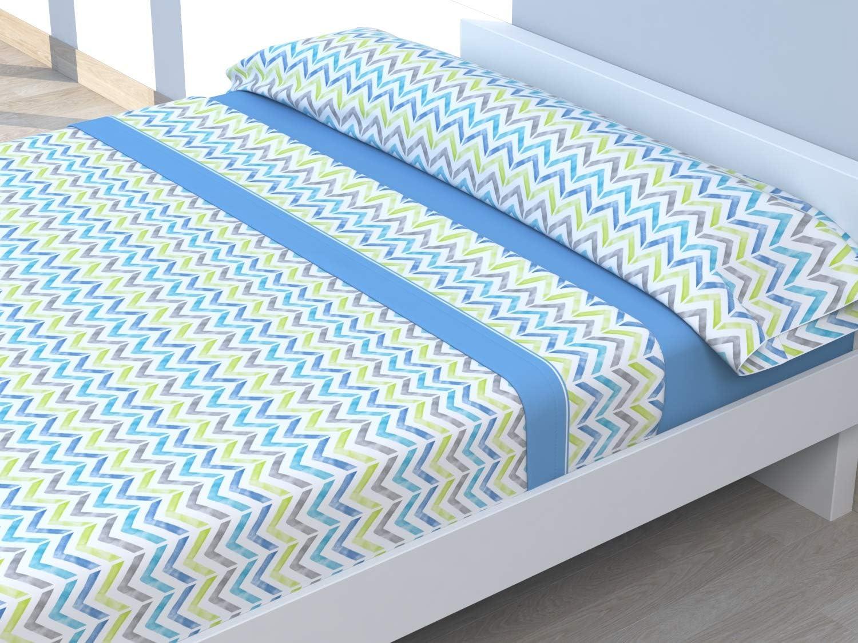 Cabetex Home Juego de s/ábanas Estampadas ZIGAT Mod 3 Piezas Coral, 135/_x/_190//200 cm Microfibra Transpirable