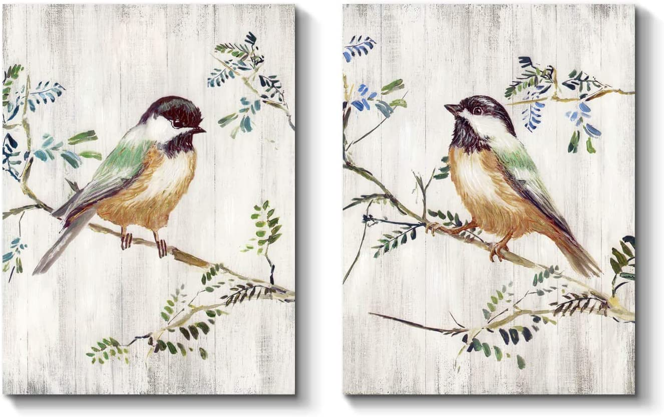 Bird Canvas Wall Art Picture: Colorful Bird on Branch Painting on Canvas for Living Room ( 24'' x 18'' x 2 Panels )