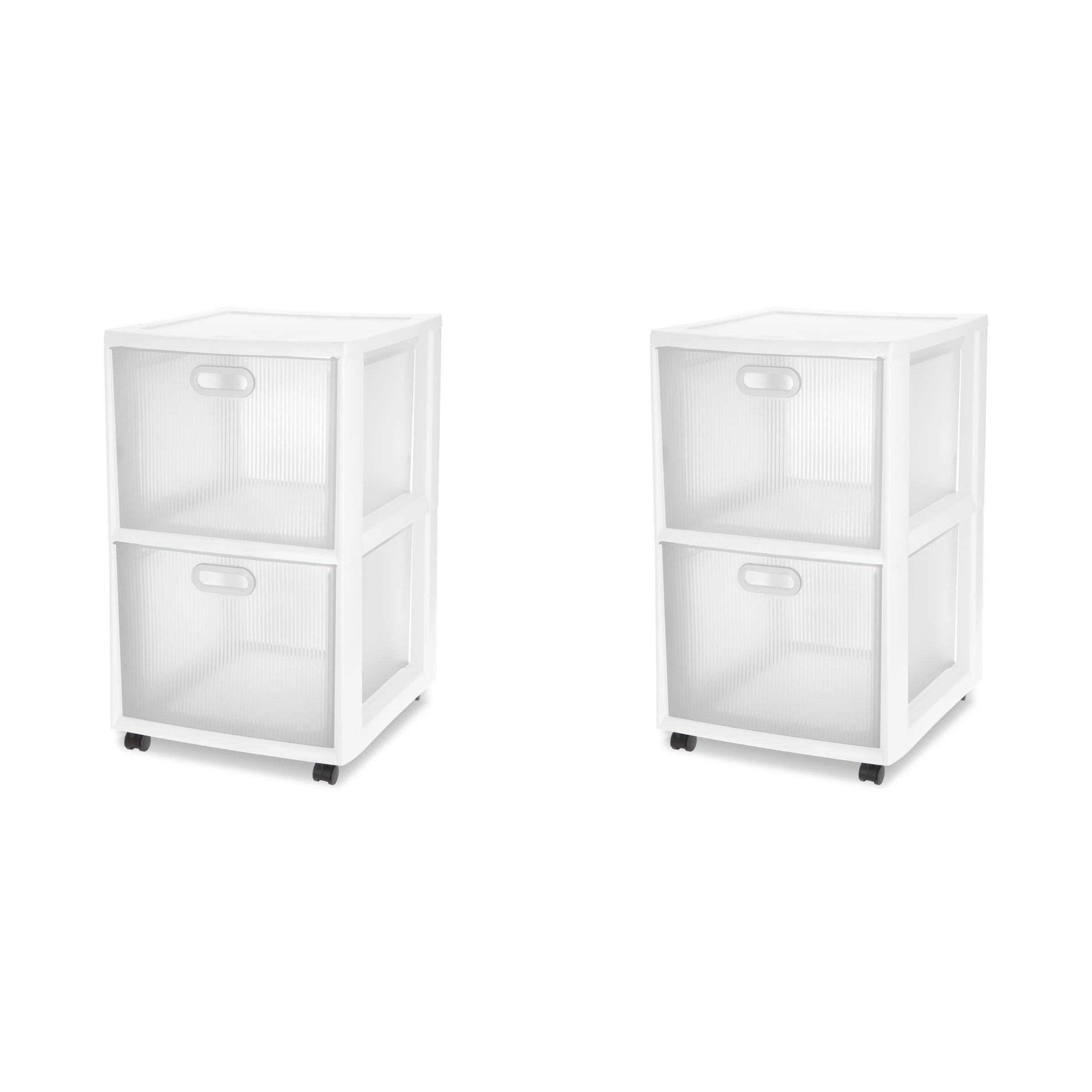 Sterilite 36208002 Ultra 2 Drawer Cart, White Frame & Clear Textured Drawers w/ Handles &  Black Casters, 2-Pack