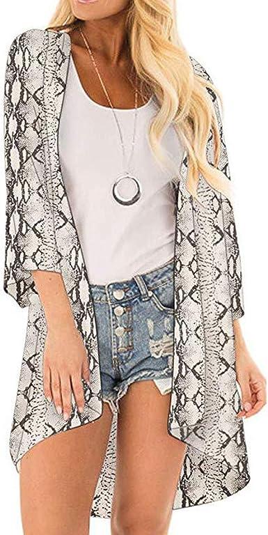 Romanly Blusa Kimono con Estampado de Serpiente, para Mujer 2020, Blusas para Mujer, Camisas para Mujer S 42: Amazon.es: Ropa y accesorios