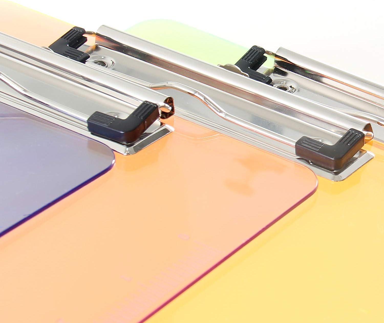 6er Klemmbrett A5 mit gummierter Metalklemme Schreibbrett DIN A5 mit Aufh/ängeose Pad Halter Clipboard TKD8021 Transparent Kunststoff 6er Schreibblock Set in 3 Farben
