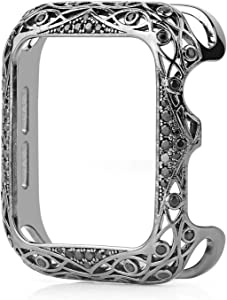 KDYLLT Carved Copper Women Luxury Bumper for Apple Watch Case 44/40mm 42/38mm Diamond Bling Metal Cover for IWatch Series SE/6/5/4/3/2 (Color : 1.Black, Dial Diameter : 38mm)