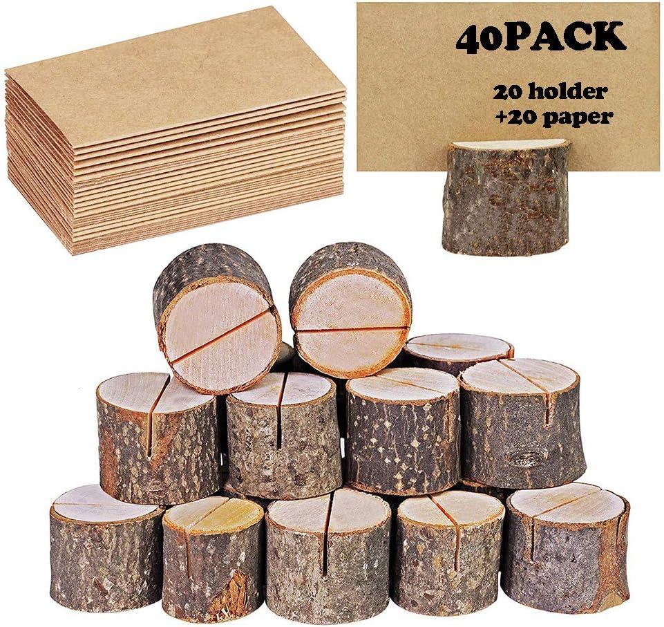 40 portatarjetas rústico de madera con soporte de madera para tarjetas de mesa, soporte para tarjetas de números, soporte para tarjetas de notas, para bodas (20 soportes + 20 lugares de papel kraft)