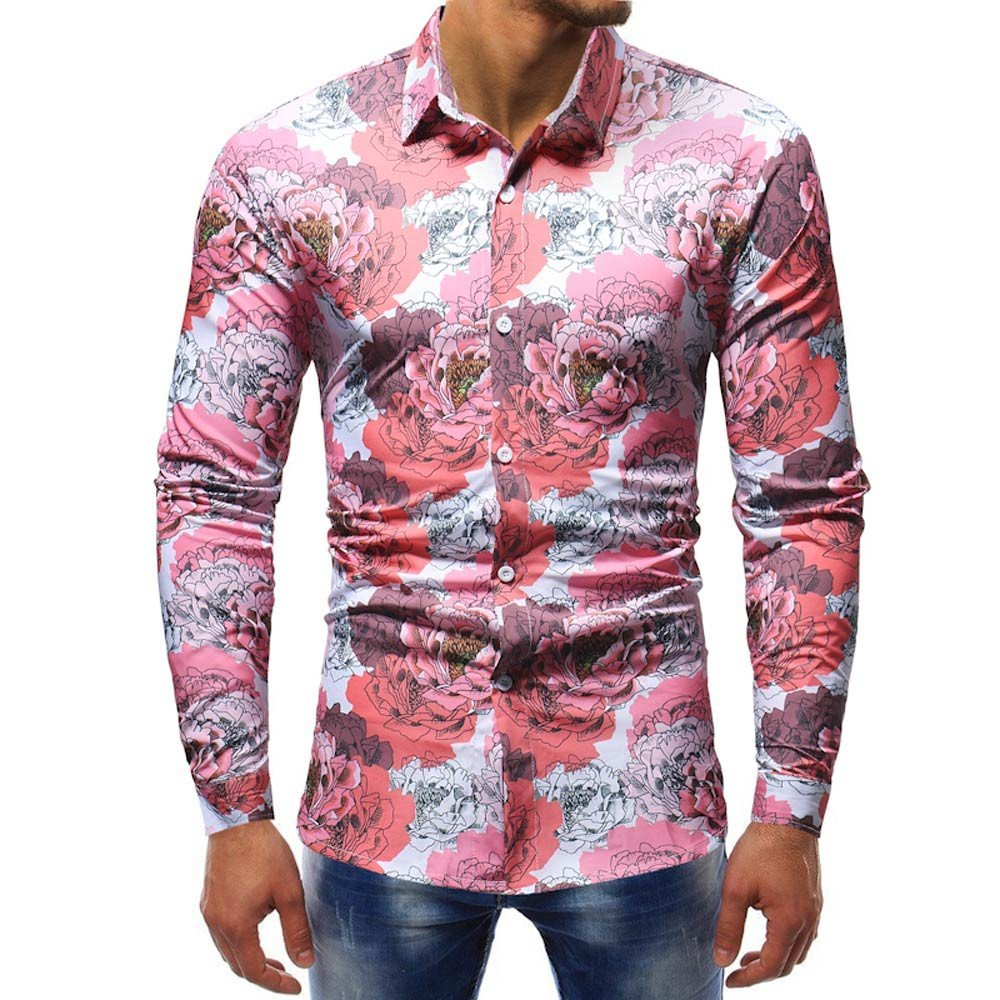 Blouse For Men, Clearance Sale!! Farjing Men Fashion Printed Blouse Casual Long Sleeve Slim Shirts Tops(XL,Red)