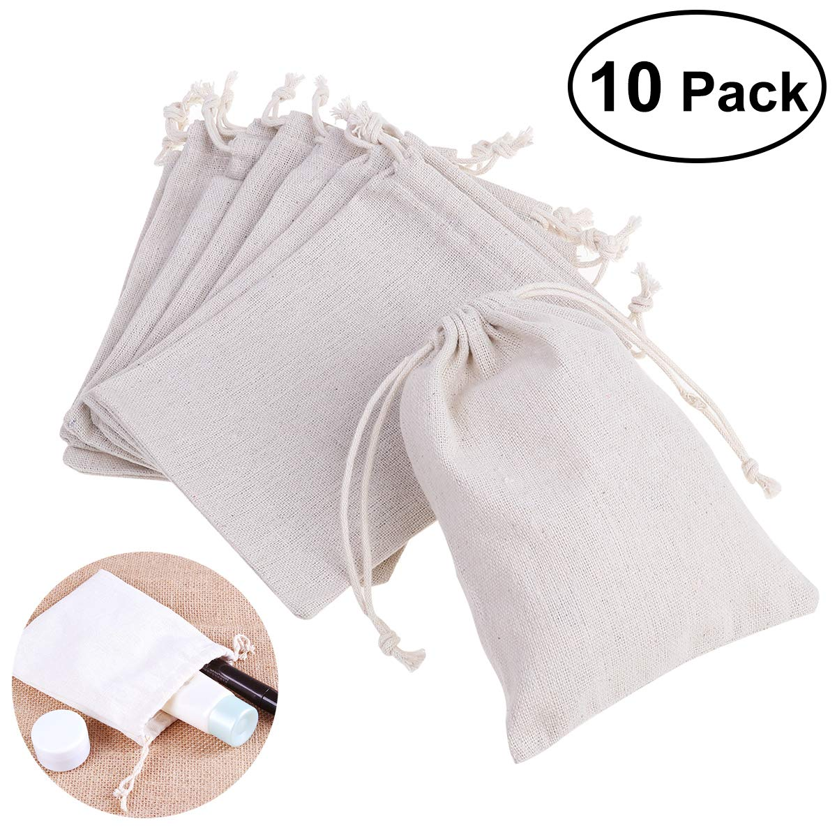 Drawstring Gift Bags Hessian Jewelry Favors Bags 5'X7' 10x Packs ROSENICE .