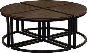 Alaterre Furniture Arcadia Acacia Set of 4 Round Wedge, Antiqued Mocha Wood Table