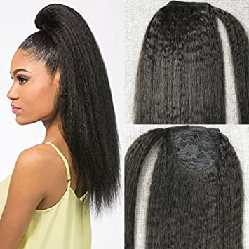 Amazon.com   Moresoo Off Black Brazilian 100 Real Human Hair 18 Inch  Ponytail Extensions Clip in for Black Women Human Hair Kinky Straight 100g  Per Pack ... e635d0845