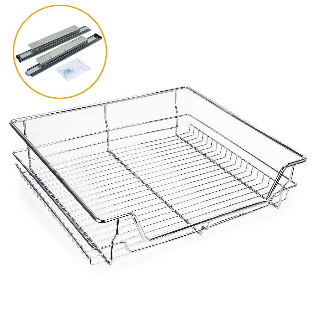 Kitchen Sliding Cabinet Organizer,Pull Out Chrome Wire Storage Basket Rack Drawer Single Shelf for Wardrobes Cupboards 1life