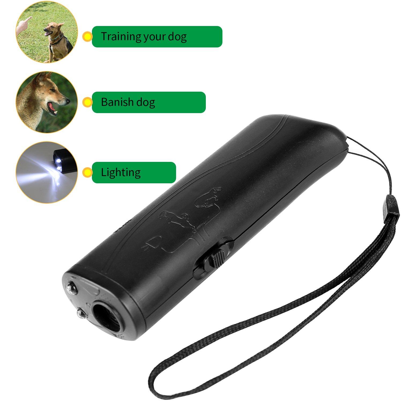 BAOTATUI Anti Barking Stop Bark Handheld 3 in 1 Pet LED Ultrasonic Dog Repeller and Trainer Device - Dog Deterrent/Training Tool/Stop Barking - Black