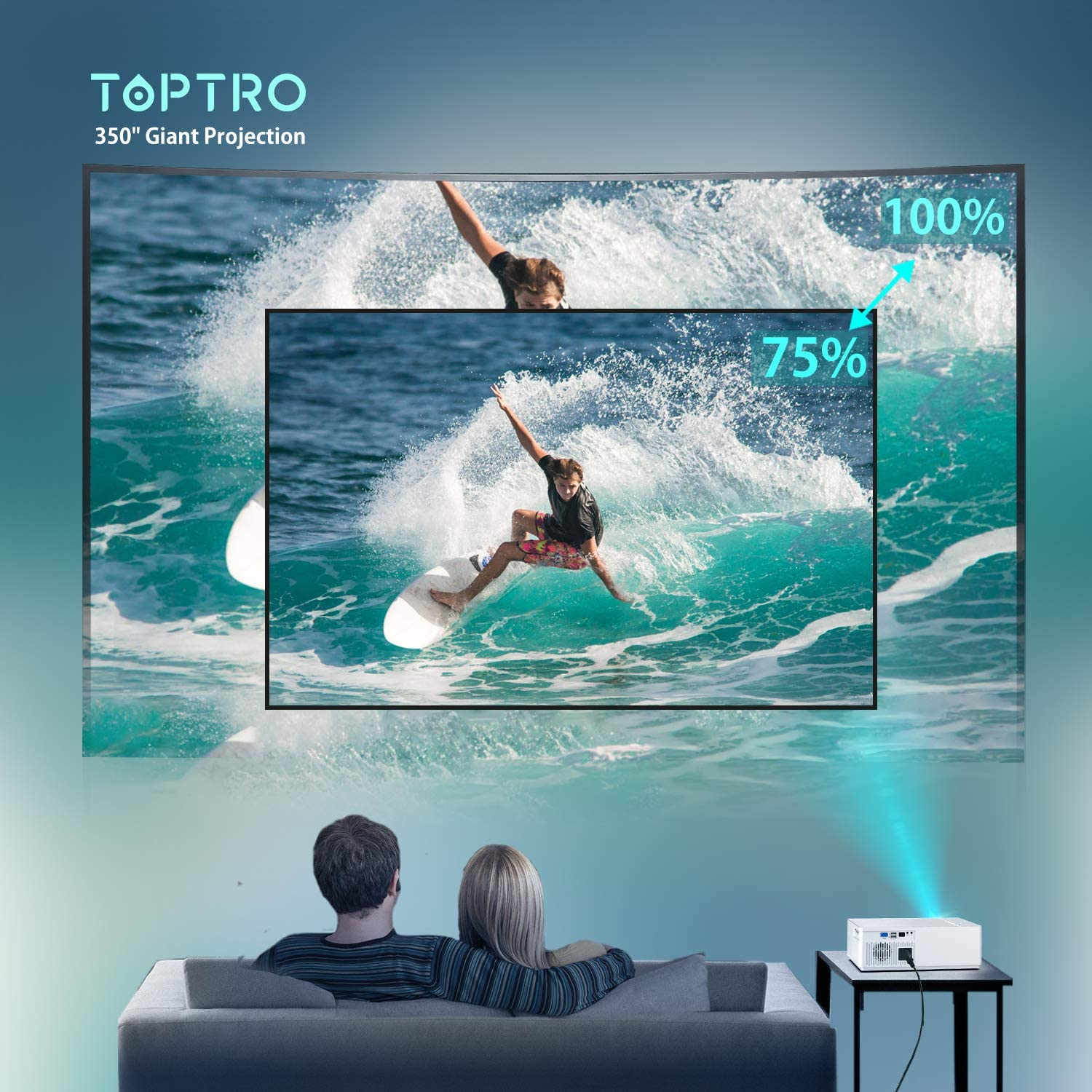 """TOPTRO Bluetooth Projector,Native 1080P and 350/"""" Display,7000 Lux Video Projector,Support 4K,Zoom/&/±50/°4D Keystone Correction,Home Theater Projector Compatible with Phone//TV Stick//PC//USB//PS4//DVD"""