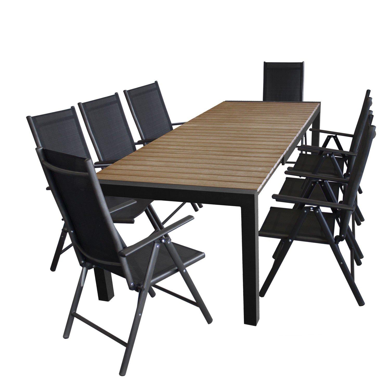 ... Polywood Tischplatte In Braun + 8x Hochlehner, 2×2 Textilenbespannung,  7 Fach Verstellbar U2013 Schwarz / Sitzgarnitur Sitzgruppe Gartenmöbel  Terrassenmöbel