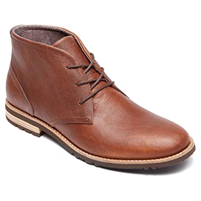 Black Rockport Mens Leather Boots Boot Ledge Hill Too Chukka