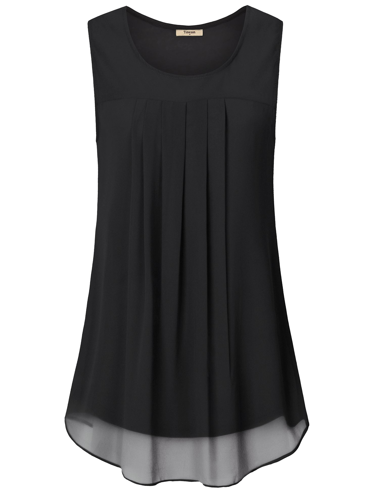 Timeson Sleeveless Blouses for Women,Chiffon Tank Top for Women, Womens Round Neck Tank Tops Sleeveless Loose Fit Summer Tunic Top for Leggings Black Large