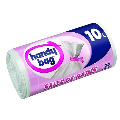 Handy Bag 3 Rouleaux de 20 Sacs Poubelle 10 L, Pour Salle de Bains, Fermeture à Liens Hermétique, Résistant, Anti-Fuites, 34 x 40 cm, Blanc