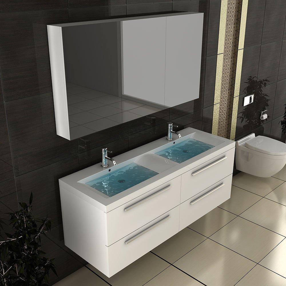 Doppelwaschbecken mit unterschrank und spiegelschrank  Weiss Badmöbel / Doppelwaschbecken mit Unterschrank ...