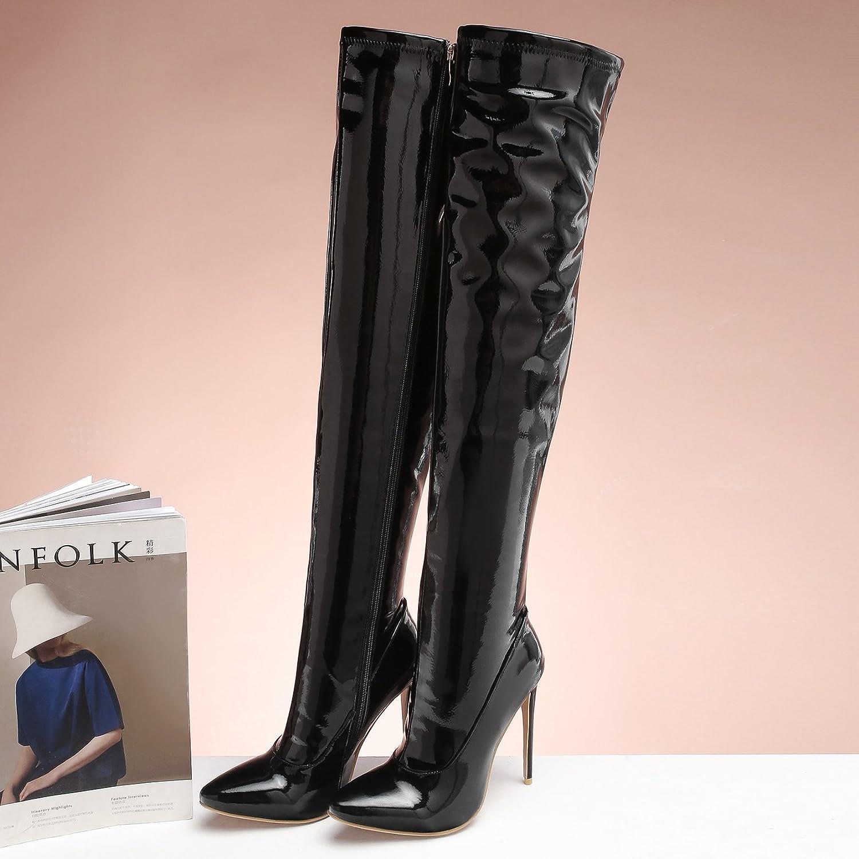 Damen-Reißverschluss Spitz Zehe Stiletto PU Frauen Fashion Stiefel Fashion Frauen ROT schwarz Mid Heels Over-The-Knie Ritter Stiefel Schwarz a2d18b