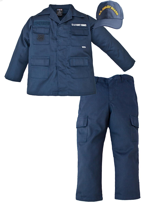 Kids US Coast Guard 3 Pc Blue USCG Work Uniform Pants & Shirt XXS 18 MOS