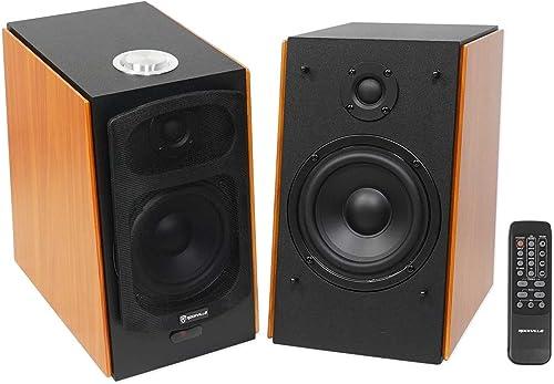 2 Rockville HD5 5 Powered Studio Monitor Bluetooth Bookshelf Speakers