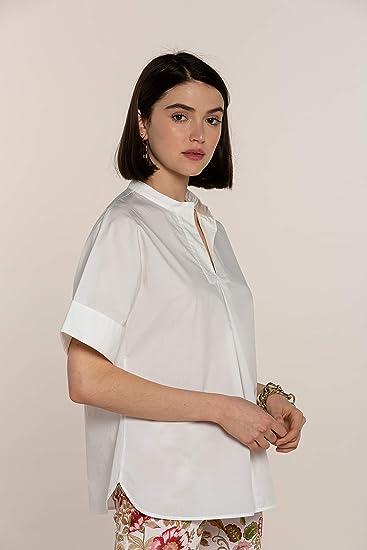 NAULOVER - Camisa Blanca de popelín para Mujer, Manga Corta Japonesa y Cuello Mao.: Amazon.es: Ropa y accesorios