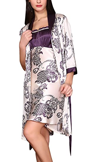 2-in-1 Luxus und Charmant Blumenstickerei Ladies Nachtw/äsche Nachtkleid Lingerie Sleepwear Dolamen Damen Satin Nachthemd Negliee mit Morgenmantel Kimono Schlafanzug