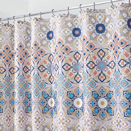 MDesign Decorative Medallion Print Easy Care Fabric Shower Curtain With Reinforced Buttonholes For Bathroom