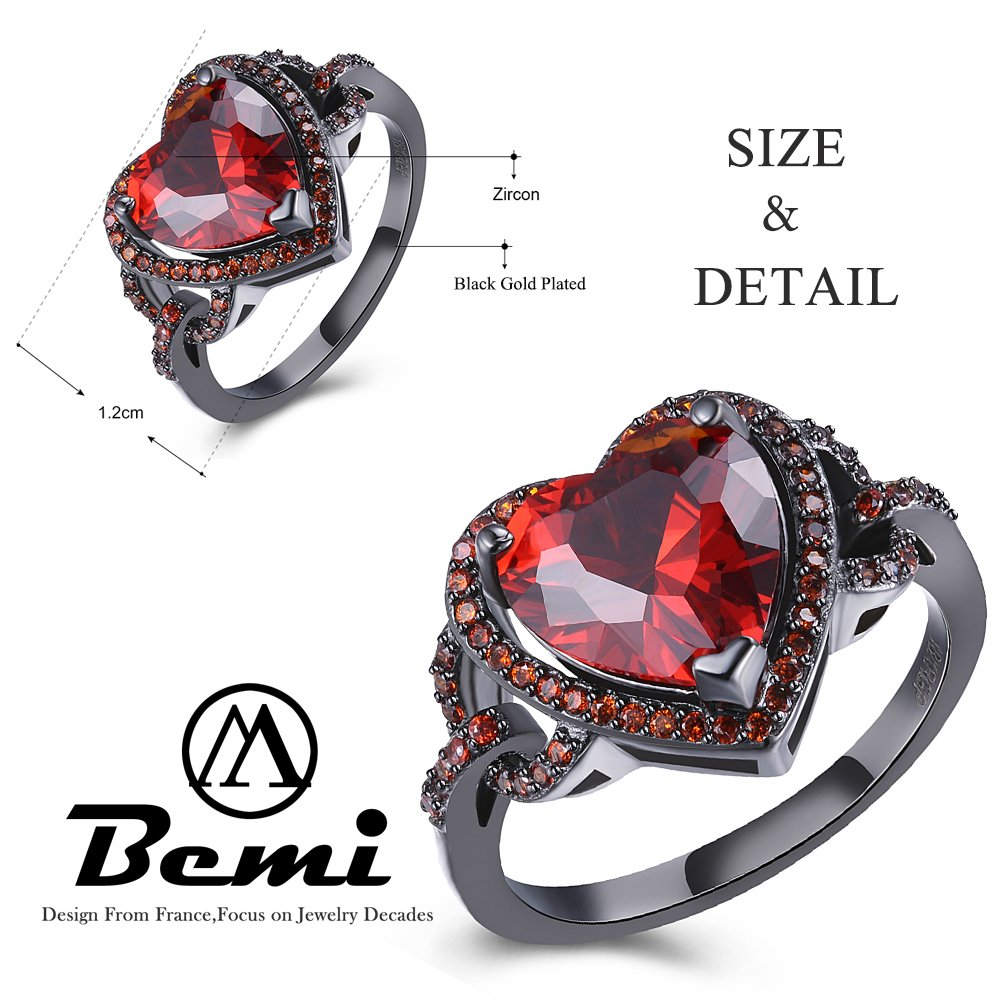 BEMI Romantic Black Gold Red Heart AAA Zircon Band Promise Ring Valentine Gift Statement Rings for Womens 8 by BEMI (Image #2)