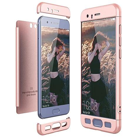 CE-Link Funda Huawei Honor 9, Carcasa Fundas para Huawei Honor 9, 3 en 1 Desmontable Ultra-Delgado Anti-Arañazos Case Protectora - Oro Rosa