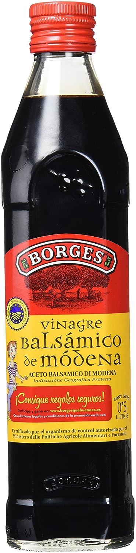 Borges - Vinagre Balsámico de Módena IGP, Macerado en Barricas de Roble - Botella de Vidrio de 500 Mililitros.