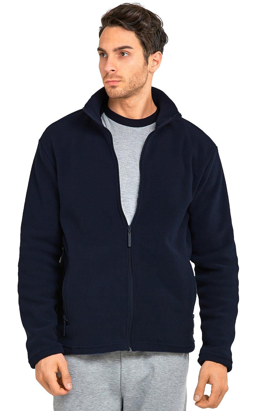 Men's Polar Fleece Zip up Jacket (M, Navy)