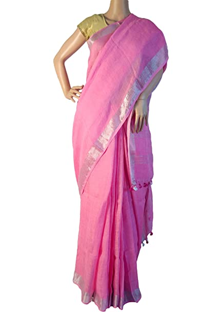 0e477e24ef7db8 HerClozet Baby Pink pure linen saree with silver zari border,with blouse  piece: Amazon.in: Clothing & Accessories
