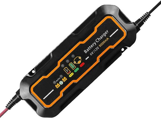 Smartes Autobatterie Ladegerät 6 V 12 V Uk Stecker Gogolo 5 A Automatischer Tragbarer Akku In 3 Schritten Ladevorrichtungen Für Sla Bleisäure Für Auto Motoren Lkw Mit Led Ladestatus Auto