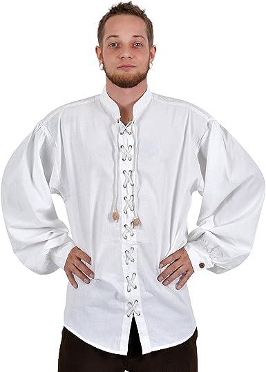 Ropa medieval - Camisa acordonada - blanca - M: Amazon.es ...