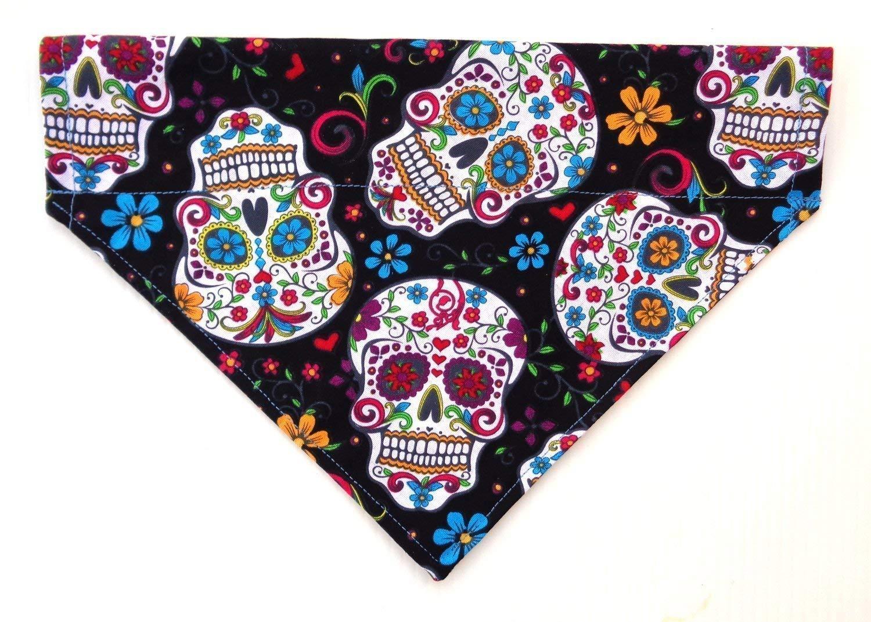Sugar Skull Day of the Dead Calavera Cinco de Mayo Day Print, Over the Collar Slip Thru Thread Through Style Neckwear Petwear
